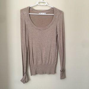 Zara beige crew scoop neck sweater